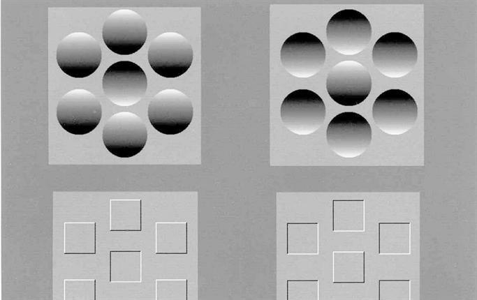 Hur vi uppfattar former beroende på varifrån ljuset kommer. Bilden till höger är vänd 180°
